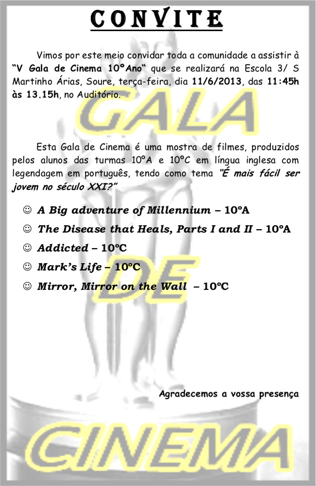 Convite Gala 10º 2013
