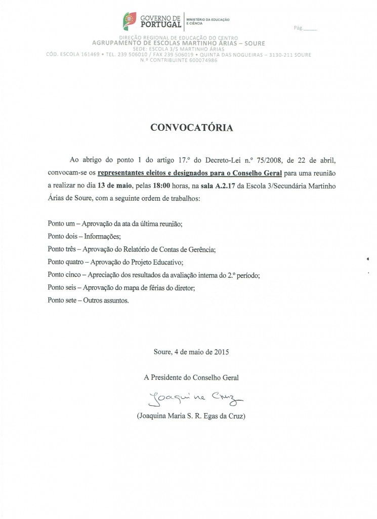 Convocatória CG